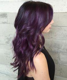 Long+Purple+Hairstyle+For+Brunettes - New Hair Design Dark Purple Hair, Plum Hair, Lilac Hair, Hair Color Purple, Pastel Hair, Green Hair, Hair Colors, Pastel Pink, Eggplant Colored Hair