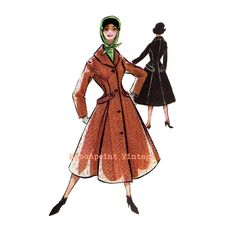 New to EmbonpointVintage on Etsy: Vintage Sewing Patterns Plus Size (or any size) 1956 Overcoat Swing Coat - PDF - Pattern No 43 Denice (17.25 AUD)
