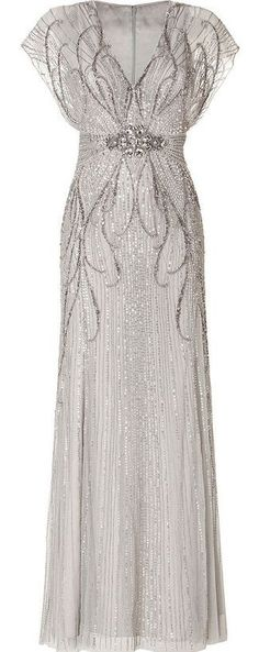 Silver long evening dress