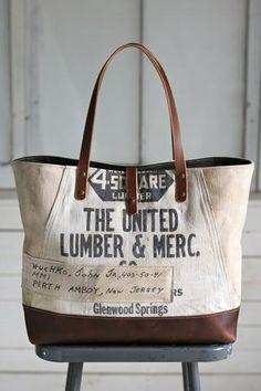 1940's era Canvas & Work Apron Tote Bag