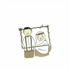 Wedding Illustration, Couple Illustration, Muslim Pictures, Cute Muslim Couples, Islamic Cartoon, Anime Muslim, Hijab Cartoon, Cute Couple Art, Couple Cartoon