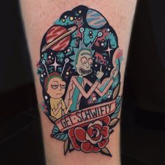Rick and Morty tattoo by Jorge Perez Burro