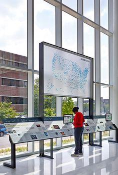 NPR Headquarters Lobby exhibit reader rail and network map | Poullin+Morris