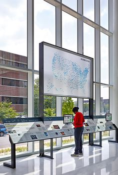 NPR Headquarters Lobby exhibit reader rail and network map   Poullin+Morris