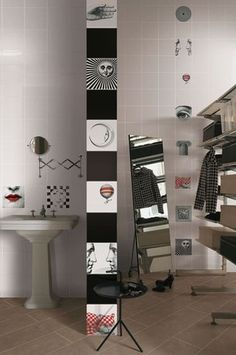 hand made decorated ceramic wall tiles  designs by Piero Fornasetti  mixed decorated tiles  20x20cm  art tiles