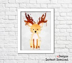 Printable Kids Poster Deer Watercolor Woodland Animal by eDesignss Kids Poster, Bathroom Wall Decor, Woodland Animals, Deer, Kids Room, Printables, Watercolor, Etsy, Forest Animals