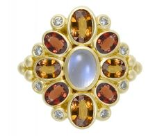 18K Anima Cluster Ring with rainbow moonstone, orange sapphire, red sapphire, and diamond - Temple St. Clair