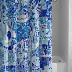Lilly Pulitzer Custom Blue Ocean Shower Curtain