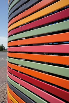 Colours and Curves. Project: Rondo Shopping Mall. Architect: MAAS. Product:Hunter Douglas 84R Façade.  #colour #facades #architecture #hunter douglas #MAAS   Façade by Hunter Douglas.