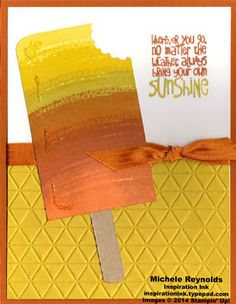 """Uses Stampin' Up! products - Work of Art Set, Ray of Sunshine Set, Tiny Triangles Embossing Folder, 3/8"""" Stitched Satin Ribbon, Dazzling Details, 7/8"""" Scallop Circle Punch, and Project Life Corner Punch.  Handmade card by Michele Reynolds, Inspiration Ink."""