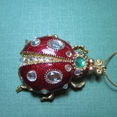 Vintage Jewelry Pendant Large Ladybug Enamel Rhinestone Design