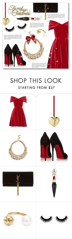 """""""Holiday Style"""" by dressedbyrose ❤ liked on Polyvore featuring Emilio De La Morena, Georg Jensen, GUESS, Christian Louboutin, Yves Saint Laurent and Nektar De Stagni"""