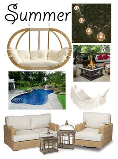 """""""Love the Outside"""" by amanda559 on Polyvore featuring interior, interiors, interior design, home, home decor, interior decorating, Thos. Baker, Amazonas, Sunset West and Real Flame"""