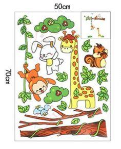 Wall Stickers for Kids Stick Wall Decals Wall Decals Decoration Wall Sticker Decal - Monkey Rabbit Squirrel and Giraffe by bigbvg, http://www.amazon.com/dp/B0089CNIKK/ref=cm_sw_r_pi_dp_hkg0pb1PAQDD7