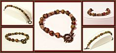 Unakite & Antique Bronze Bracelet - Gemstone - Red, Green, Bronze, Natural Stone - Handcrafted by RomanticThoughts.etsy.com