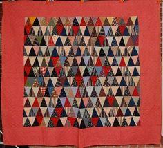 Vibrant 1880's Vintage Pyramids Antique Quilt Gorgeous Fabrics   eBay