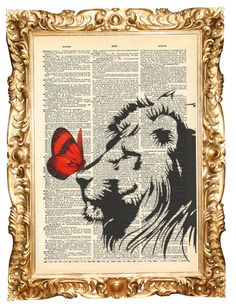 Lion & red butterfly - ORIGINAL ARTWORK, Hand Painted mixed media vintage dictionary print. $10.00, via Etsy.