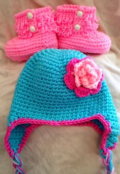 Crochet Baby Booties and Hat Set Hat & Booties by BabyGirlsGlam $25