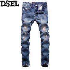 26fde8ccac2 Spring Summer Style DSEL Brand Men Jeans Blue Color Denim Elastic Destroyed  Ripped Jeans Men Stripe