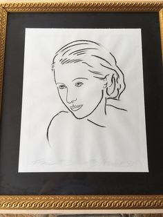 "Woman's Face ""Face #3"" Original Sketch, Framed, Signed by Artist, 24"" x 20"""