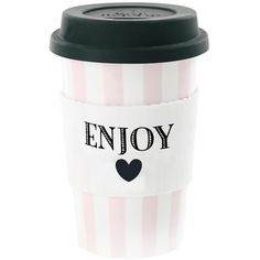 Miss Étoile Ceramic Travel Mug - Enjoy with Rose Stripes (£20) ❤ liked on Polyvore featuring home, kitchen & dining, drinkware, fillers, food, decor, accessories, backgrounds, phrase and quotes