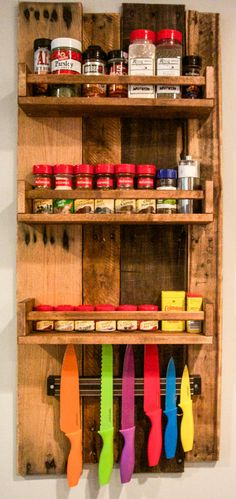 Rustic Wooden Spice Rack by CrystalCraftShop on Etsy