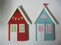 Fräulein Spatz: popsicle stick houses - so fun to do with kids for the holidays - DIY Popsicle Stick Houses, Popsicle Stick Crafts, Craft Stick Crafts, Diy Crafts, Craft Sticks, Pop Stick, Stick Art, Projects For Kids, Diy For Kids