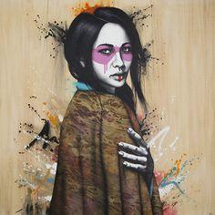 Fin DAC - Street Art - Kumonoko - Acrylic, spray and collage on wood panel Graffiti, Illustration Art Drawing, Illustrations, Art Drawings Beautiful, Art For Art Sake, Street Artists, Art Sketchbook, Public Art, Urban Art
