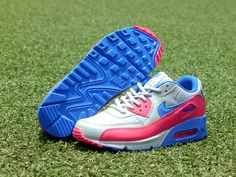 Women's And Men's Nike Air Max 90 Sneaker Shoes A  Jogging Shoes Lovers Gray Blue Dark Pink only US$89.00 - follow me to pick up couopons.