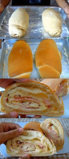 Pão caseiro recheado com presunto e queijo #pão #pãocaseiro#comida #culinaria #gastromina #receita #receitas #receitafacil #chef #receitasfaceis #receitasrapidas