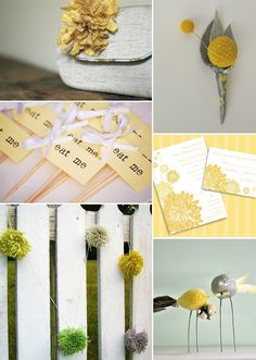 Vintage Yellow Inspiration Board - love the giant pom poms + bout.