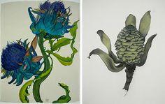 More Sarah Graham botanicals . . .I adore these!  Left:  Sienna Artichoke  Right: Big Fir