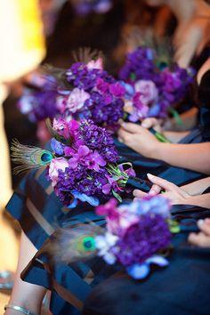purple, blue & peacock bridesmaids' bouquets