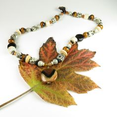 Kazuri Bead Earth-tone Necklace by RedVioletDesign on Etsy