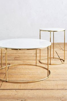 Marble and Brass Side Table and Coffee Table