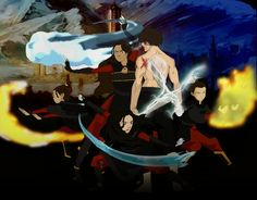 Fire Lord Zuko, Fire Lady Katara, Crown Princess Kya, Prince Iroh, and Princess Izumi