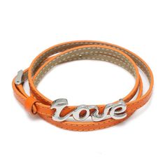 Orange Adjustable Leather Bracelet