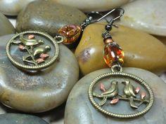 Cute earrings. Bronze Oval Birds On A Branch Red by EVERCHICJEWELRY, $18.00