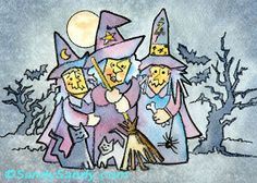 "*SANDY SANDY ART*: We Three Witches ~ 8"" x 10"" original watercolor ~ $105. matted and framed ~ Jersey Girl Witches ~ http://www.sandysandyart.com/2013/05/jersey-girl-witches.html"