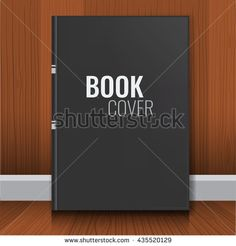 Mockup of black book cover. Realistic Textbook, booklet, notepad or notebook for your design and branding with wood wall background. - stock vector