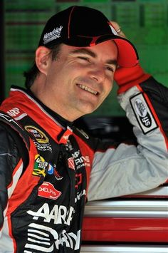 Jeff Gordon relaxes after practice for Sunday's NASCAR Sprint Cup Series Food City 500 auto race in Bristol, Friday, March 16, 2012.