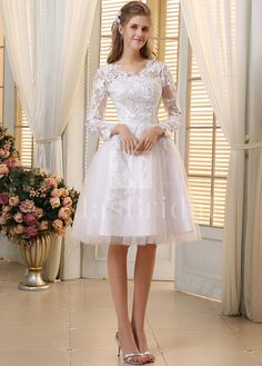 [88.00] Elegant Tulle V-neck Neckline A-line Wedding Dresses with Venice Lace - adasbridal.com