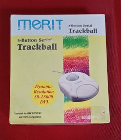"Vintage MERIT TB-3000 3-button Serial Trackball for IBM PC/XT/AT 5.25"" Floppy"