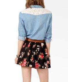 Lace Yoke Denim Shirt | FOREVER21   I need dis