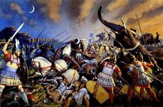 """""""Alexander the Great's army defeats Indian warriors at the battle of Hydaspes in nothern India, 326 BC"""", Angus McBride"""