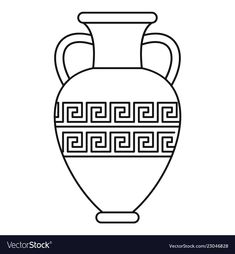 Ancient vase icon outline style vector image on VectorStock Ancient Greece, Ancient Greek Art, Greek Crafts, Old Vases, Coloring Pages Inspirational, Paper Artwork, Arabic Art, Art Lessons, My Drawings