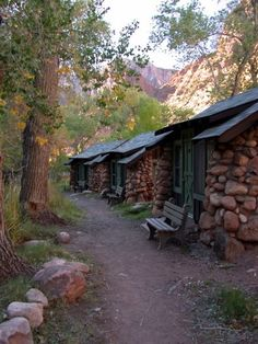 Cabins at Phantom Ranch, Grand Canyon. The architectural style known as National Park Service Rustic, features native stone, rough-hewn wood, large-scale design elements, and intensive use of hand labor. Phantom Ranch is listed on the National Register of Historic Places and holds the distinction of being one of the only two places left in America whose mail is still delivered by mule.