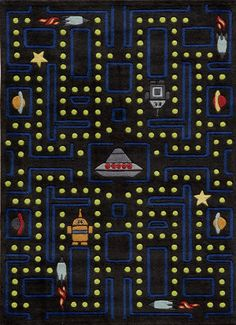 Momeni Arcade Rug for Lil Mo - Based on the classic dot-gobbling video game—and featuring bonus rocket ships, robots and planets—this hand-tufted Arcade Rug will give your child a firm grounding in old-school video games and a fun, colorful design to look at and play on. The details in this rug are hand-woven for a unique, textural feel.