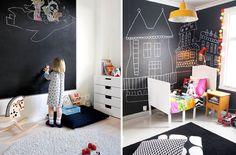Habitaciones infantiles: Una gran pizarra en la pared - http://www.decoora.com/habitaciones-infantiles-una-gran-pizarra-en-la-pared.html