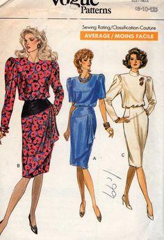 Free Us Ship Sewing Pattern Vogue 7557 Vintage Retro 1980s 80s Shoulder Pad Bias Skirt Dress Draped Front 8 10 12 Bust 31.5 32.5 34 Uncut by LanetzLiving on Etsy